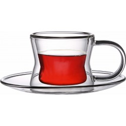 TRUST DOUBLE WALL 4PC GLASS CUP AND SAUCER SET 80ML