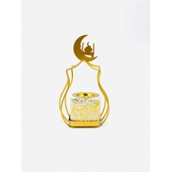 Ramadan ceramic incense burner in white Arabic letters with golden stand