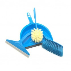 A broom cleaning set with a shovel and a toilet cleaning brush and a shattaf blue color
