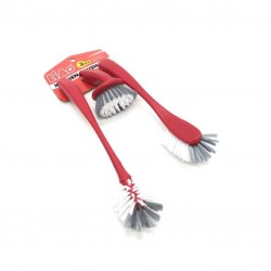 A red cleaning brush set
