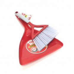 A broom with a plastic shovel, red color