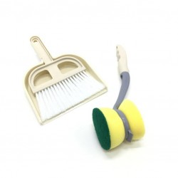 A broom cleaning set with a shovel and a sponge