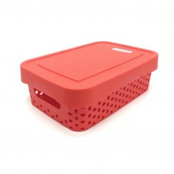 A perforated rectangular plastic storage basket with a cover, red color