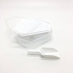 Ice cube mold with lid and scoop white color