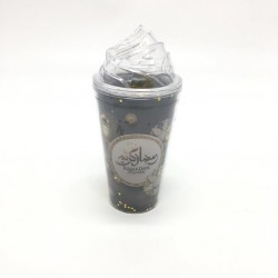 A plastic cup with Ramadan drawings
