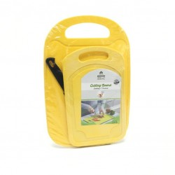 Yellow cutting board set with knife