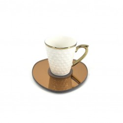 A coffee cup with a small saucer