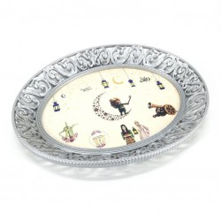 A plastic serving tray with Ramadan drawings