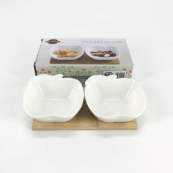2 nuts bowl with wood base