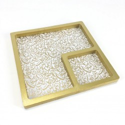 Square Wood Serving Tray Divided In White And Gold Color