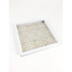 Square wood serving tray, white and gold color