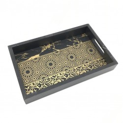 Wood serving tray, black and gold color