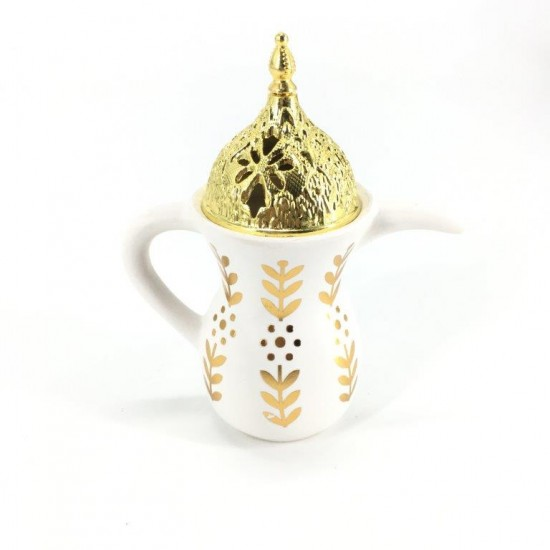 Dallah Censer in white and gold color