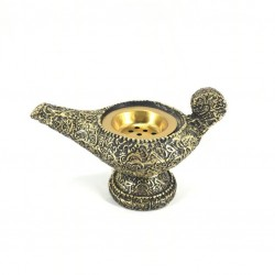Al Fanoos Incense Burner, with Arabic letters, in black and gold